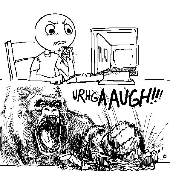 gorilla rage on computer meme